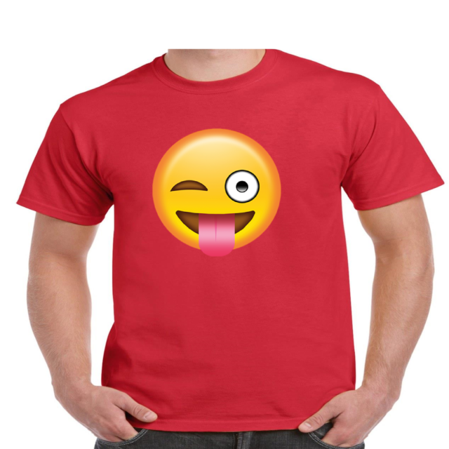 MENS WHITE T-SHIRT WITH CHEEKY WINKING TONGUE OUT EMOJI DESIGN
