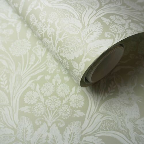 HARLEN WOODLAND DAMASK WALLPAPER SAGE GREEN HOLDEN 90162