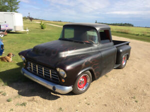 Street rodded 55 Chev Step side with 350 6 pack