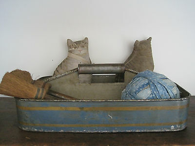 Old Primitive Original BLUE Paint Tin Divided Tray with Handle American Country