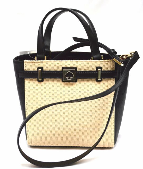 NWT Kate Spade Leo Houston Street Straw / Genuine Leather Tote Cross body Bag