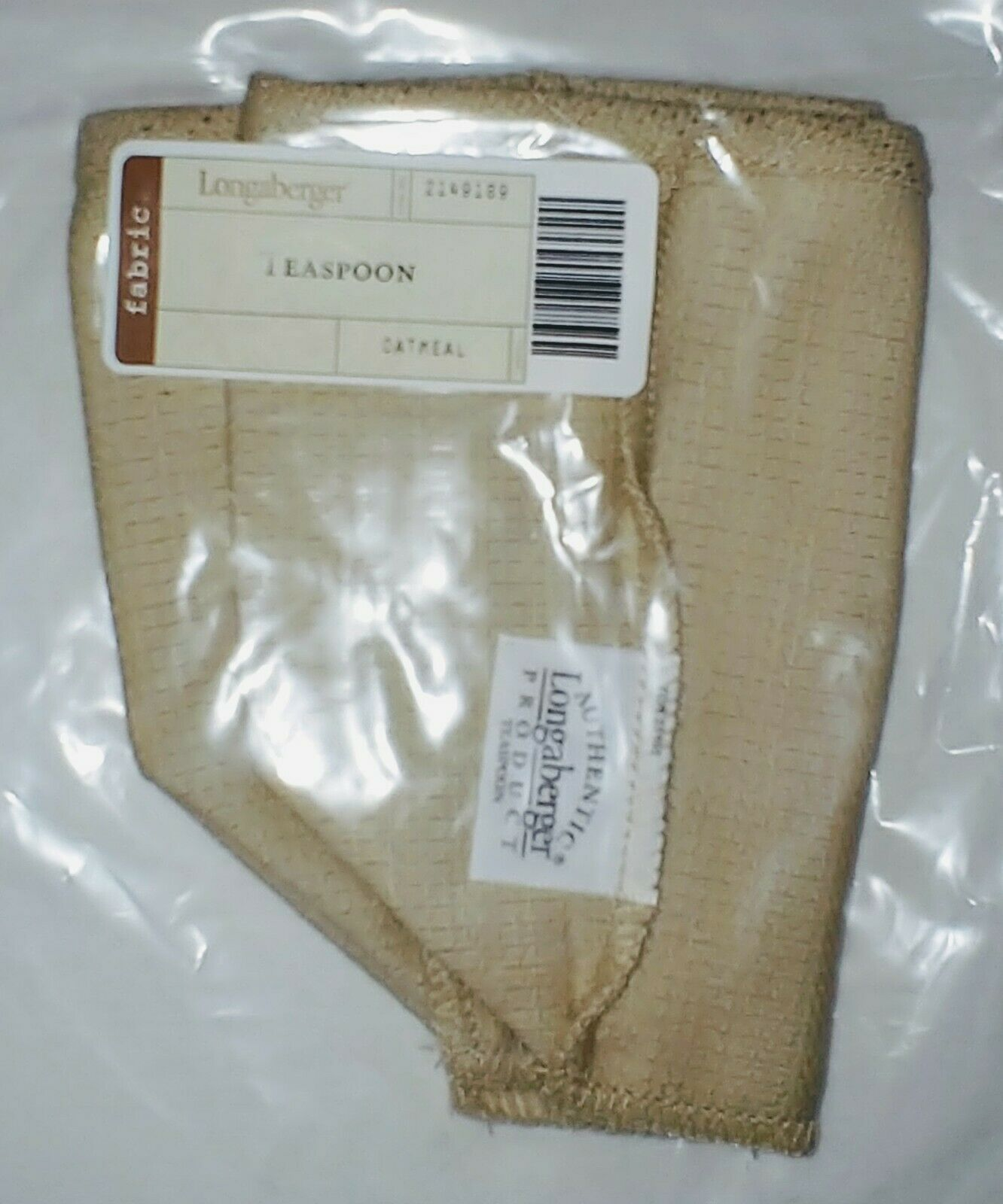 New in Bag Longaberger Teaspoon Liner Only only Oatmeal