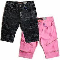 Copper Rivet Slim Fit Twill Biker Shorts With Zippers And Rips Pink Or Black