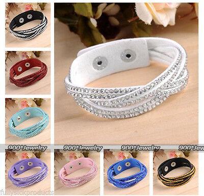 Crystal Braided Bracelet Waterfall Leather Wrap Bracelet Cuff Wristband Charms