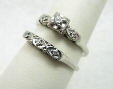 Vintage 18k White Gold Diamond Wedding Engagement Ring & Band Set Sz 8.75 -5.2g