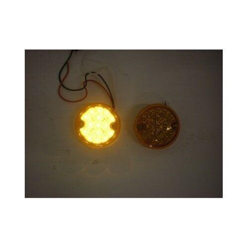 "Amber Lens Amber 3/"" Round 15 LED Surface Mount Park Turn Signal Lights 2"