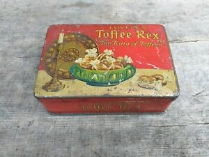 c1930-039-s-Vintage-Collectable-Lovell-039-s-Manchester-Toffee-Small-Tin-Hinged-Lid