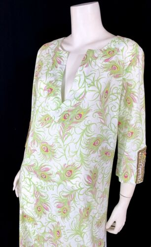 💕 LILLY PULITZER Sequined Brass Beaded PEACOCK FE