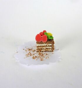 Dollhouse Miniature Slice of Cake Chocolate Frosting with Roses on Top