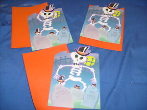3 Vintage Hallmark Halloween Greeting Card Skeleton Graveyard Ghost Unused /a9