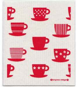NEW-Red-Tea-Cups-Design-Eco-Friendly-Kitchen-Dishcloth
