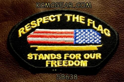 RESPECT THE FLAG Oval Small for Biker Vest Motorcycle Patch