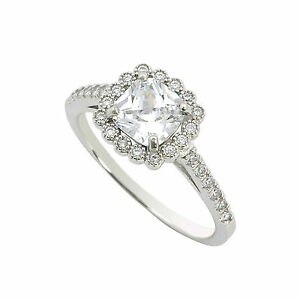 925-Silver-Ring-Square-Princess-Cut-CZ-Center-Stone-with-Sparkle-Accent-Stones