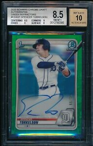 BGS 8.5/10 SPENCER TORKELSON AUTO 2020 Bowman Chrome GREEN REFRACTOR #/99 NM-MT+