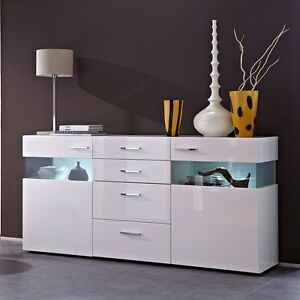 sideboard wohnzimmer esszimmer schrank wei hochglanz mit led ebay. Black Bedroom Furniture Sets. Home Design Ideas
