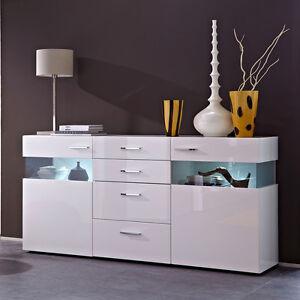Wohnzimmer wandschrank weis hochglanz  Sideboard Wohnzimmer Esszimmer Schrank weiß hochglanz mit LED | eBay