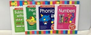 CHILDREN-039-S-LEARNING-4-X-HOME-WORKBOOKS-SET-NUMBERS-PHONICS-AGE-3-6-FREE-POST