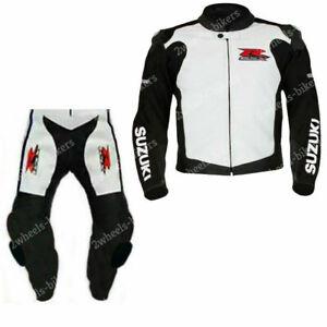 Suzuki GSXR Motorbike Suit Printed Leather Motorcycle Sport Biker Racer Armour