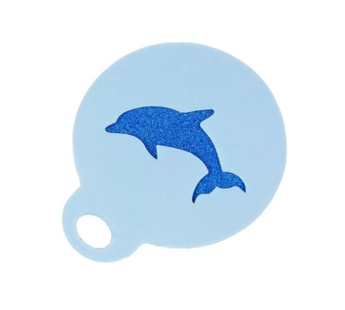 Dolphin Coffee Duster Mylar Stencil Approx 8.5cm Washable Reusable