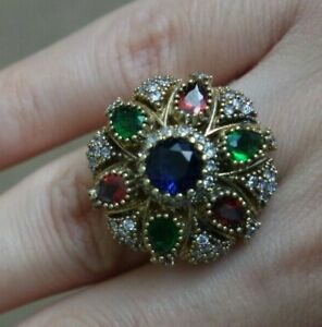 Turkish-Handmade-Jewelry-Sterling-Silver-925-Ruby-Mix-Ladies-Ring-6-7-8-9