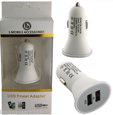 Universal Usb Car Charger Cigarette Lighter Adapter For Iphone,IPad,Samsung Wite