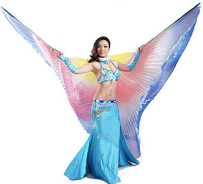 Egyptian Egypt New Belly Dance Costume Isis Wings Gradient Colors ( no stick )