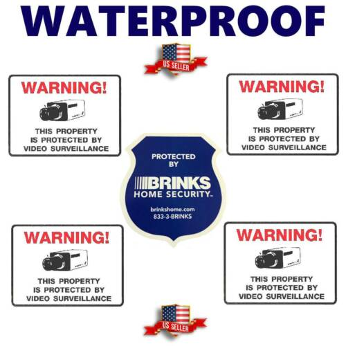 STICKERS FOR HOME SECURITY ALARM CAMERAS BRINKS WARNING STICKER DECAL SIGN LOT