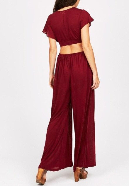 Somedays Loving Fly Jersey Palazzo Red Burgundy Playsuit Jumpsuit XS S NEW