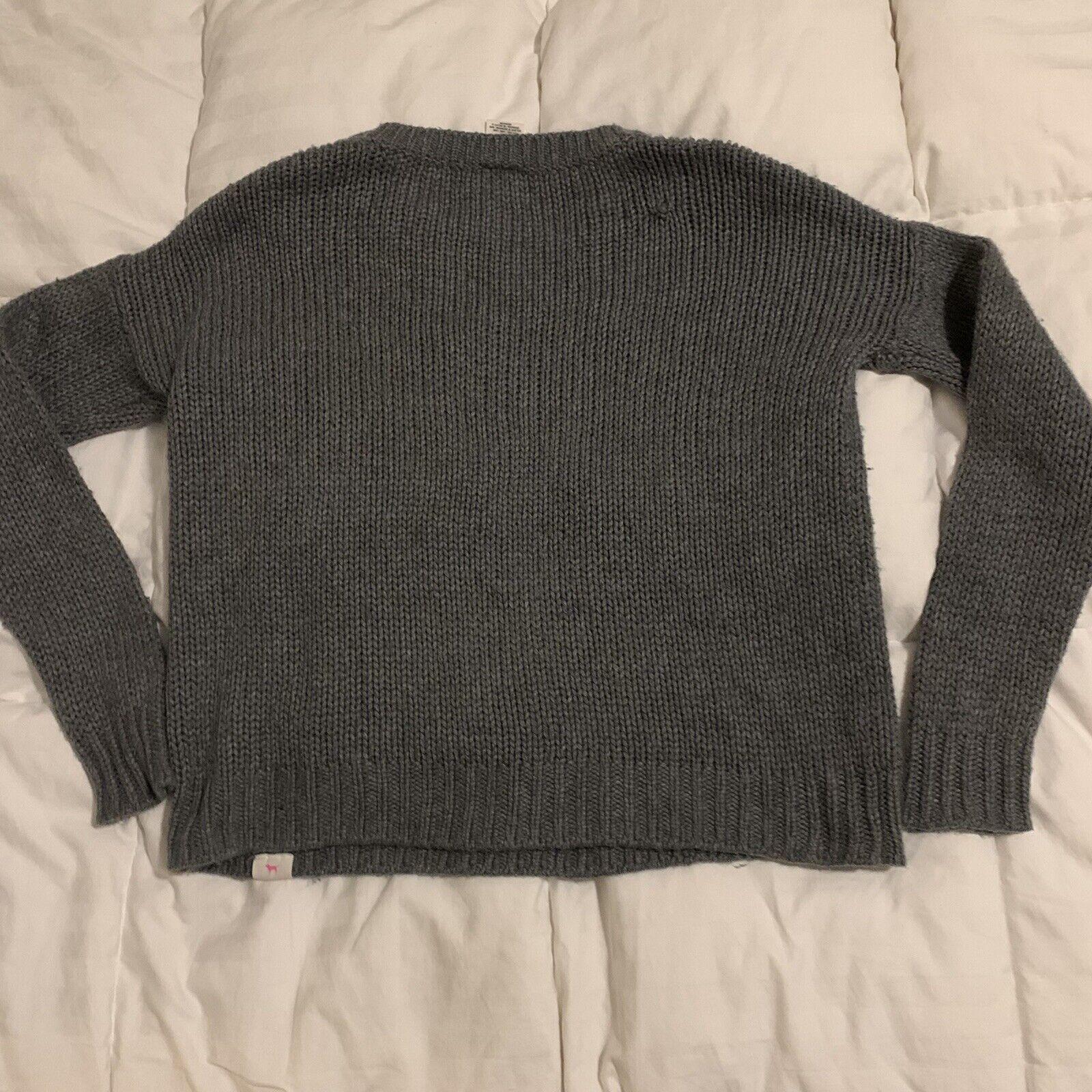 Victoria's Secret varsity letter gray sweater S - image 2
