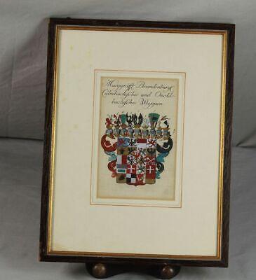 Ordentlich Kupferstich Coloriert Von 1741 - Wappen Markgräfl. Brandenburg - Gerahmt