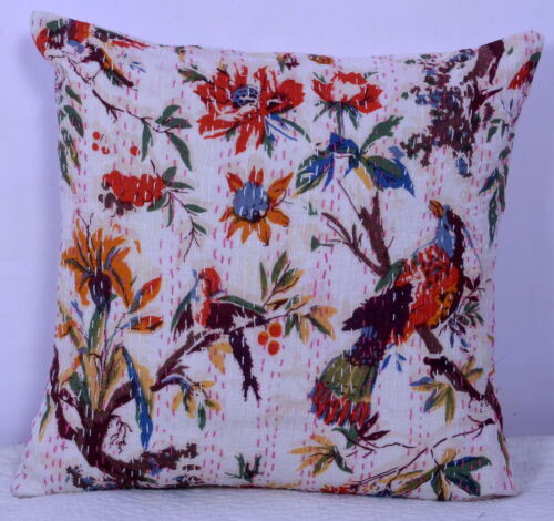 "16/"" Indian White Pillow Cushion Covers Kantha Thread travail ethnique vintage Decor"