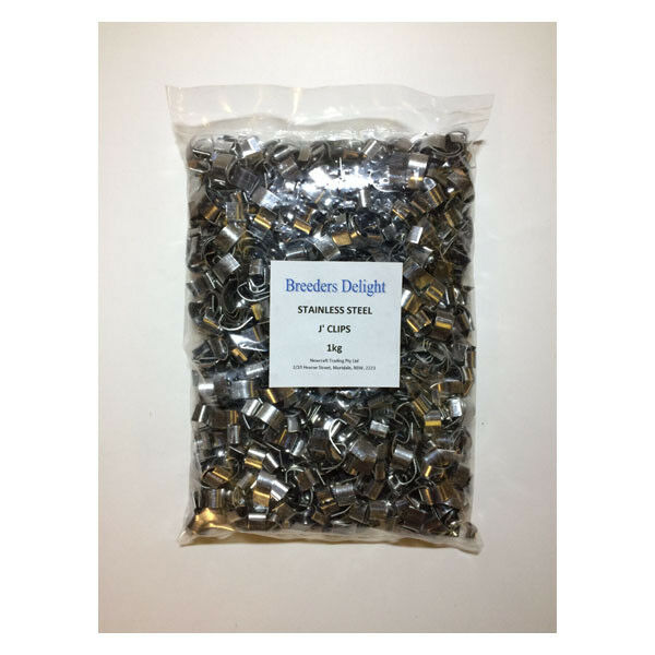 """""""J"""" Clip Stainless Steel Aviary Clips 1kg"""