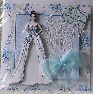 HANDMADE-BEAUTIFUL-3D-PRETTY-BRIDE-WITH-FINE-GLITTER-ACCENTS-EX-LG-WEDDING-CARD