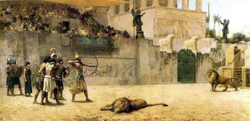 "Oil painting frederick arthur bridgman the diversion of an assyrian king 36/"""