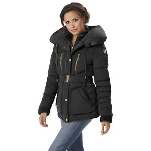 Women s Rocawear Short Belted Puffer Jacket w  Pillow Collar Black M ... cfc4902f0