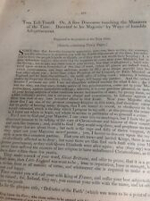 M71 Article Old Document Undated Tom Tell Troath The Manners Of The Time