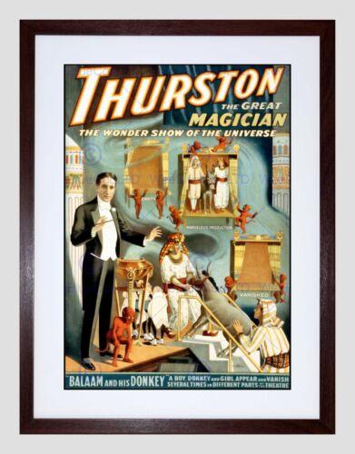 THURSTON THE MAGICIAN VINTAGE ADVERT BLACK FRAMED ART PRINT PICTURE B12X2563