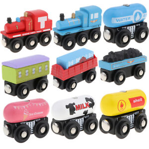 Details about Children Wooden Train Set Track Toy Magnet Engines Carriages Accessories Railway