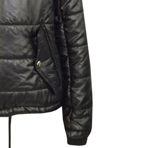 Bambine Nero BELLA ad alta lucentezza imbottito con cappuccio trapuntato imbottito giacche di 5-13 anni