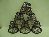 "6 Clip On Chandelier Lamp Shade 2.5x5x4"" - Grapevine Primitive Rustic Cabin"