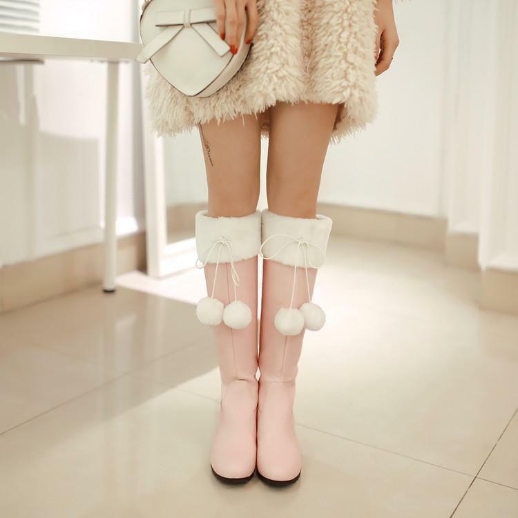 Women's Wedge High Heel Boots Fur Lined Knee High Snow Boots Winter Warm Shoes