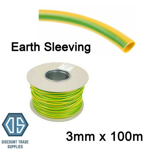 Earth Sleeving 3mm 100 Meters Drum Electricians Earth Cable Sleeve Green//Yellow