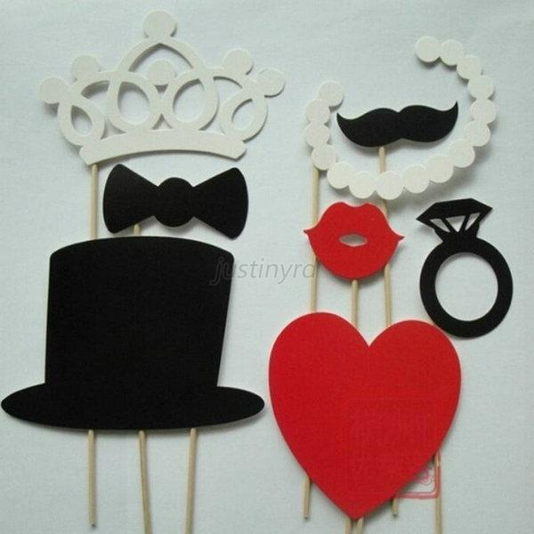 Photo Booth DIY Party Masks Props Mustache On A Stick Wedding Party Favor 8pcs