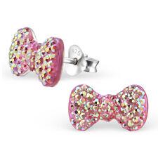 925 Sterling Silver cute PINK AB BOW ear stud Earrings childrens ladies gift