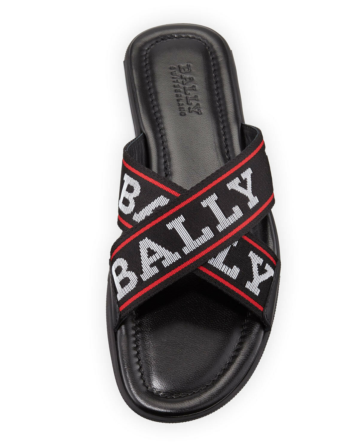 85d8d1ceeda9 Bally Bonks Black Leather Striped Logo Crisscross Sandal Slides 8 US 41  Italy for sale online