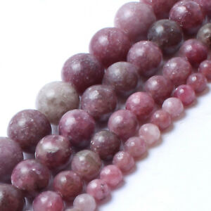 Natural Stone Lepidolite Gemstone Jewelry Making Loose Beads Strand 4/6/8/10mm