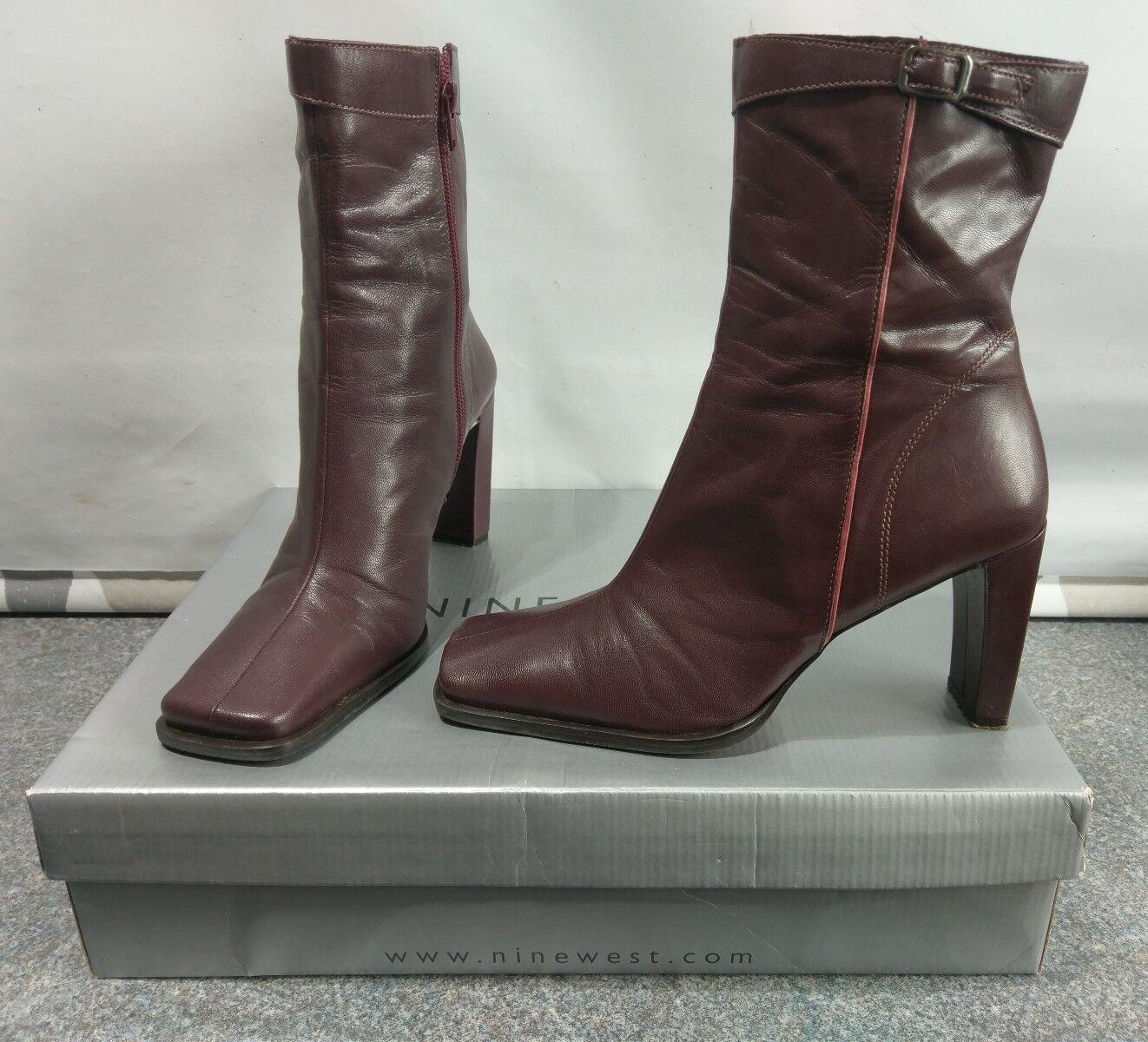 NINE NINE NINE WEST 'Wine' Leather High Heel Ankle Boots UK Size 7  A 9aacb0