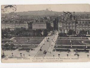 Paris-Jardin-des-Tuilleries-amp-Pavillon-de-Marsan-France-Vintage-Postcard-230a