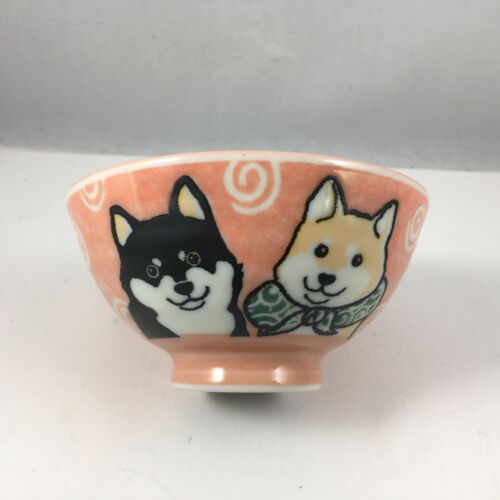 "Japanese Children Rice Soup Bowl 4.25/""D Porcelain Red Shiba Inu Dog JAPAN MADE"