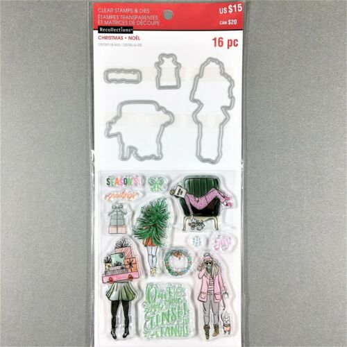 Recollections Christmas Clear Stamp Die Set Girl With Gifts Tree Walking Dog